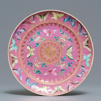 A Chinese pink-ground famille rose Straits, Peranakan or Nyonya market plate, 19th C.