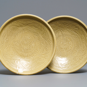A pair of Chinese Yueyao shipwreck 'crane' dishes, Song