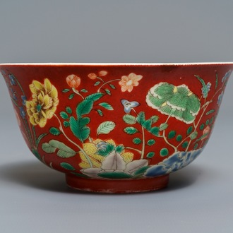 A Chinese falancai coral-ground bowl, Yongzheng mark and poss. of the period