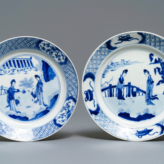 Two Chinese blue and white plates with 'Long Eliza' and boys, Chenghua mark, Kangxi