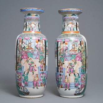 A pair of of Chinese famille rose rouleau 'court scene' vases, 19th C.