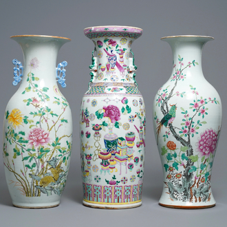 Three various Chinese famille rose vases, 19th C.