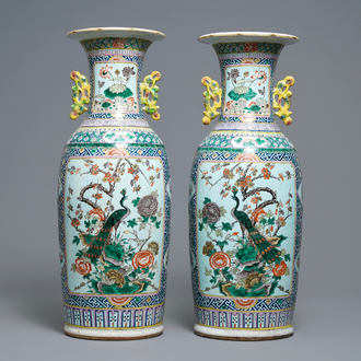 A pair of Chinese famille rose vases with birds among flowers, 19th C.