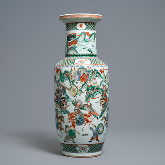 A Chinese famille verte rouleau 'warriors on horseback' vase, 19th C.
