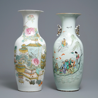 Two Chinese qianjiang cai and famille rose vases, one signed Xu Pinheng, 19th and 20th C.