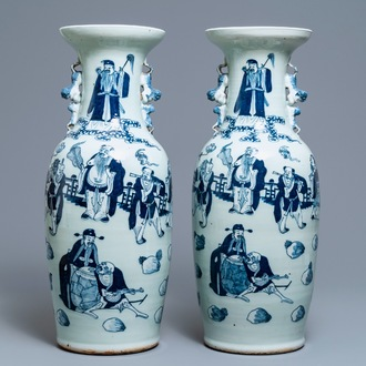 A pair of Chinese blue and white celadon vases with figures, 19th C.