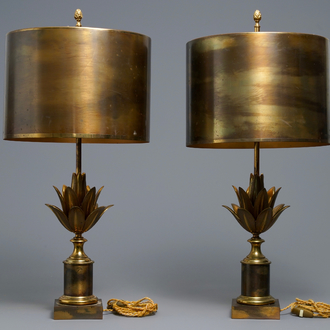 A pair of large signed Maison Charles lotus flower lamps, ca. 1960