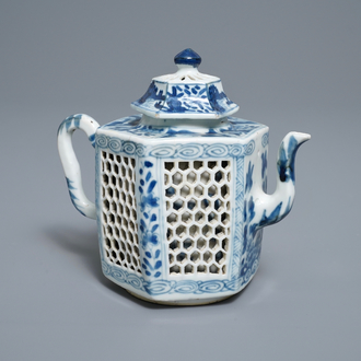 A rare Chinese blue and white double-walled reticulated octagonal teapot, Kangxi