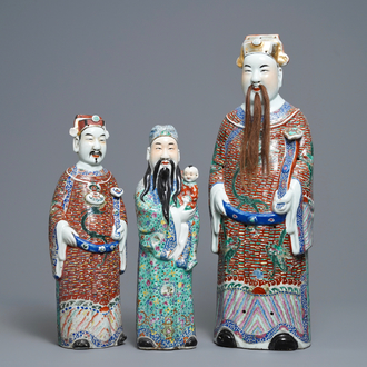 Three Chinese famille rose figures of star gods, 19/20th C.