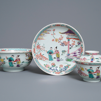 Two Chinese famille rose bowls and a plate, Yongzheng mark and of the period