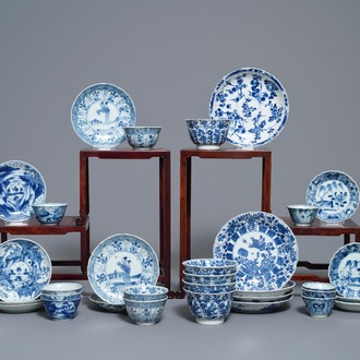 Sixteen Chinese blue and white cups and saucers, Kangxi
