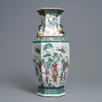 A Chinese hexagonal famille rose 'scholars' vase, 19th C.