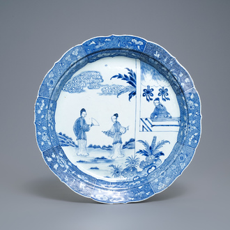 A large Chinese blue and white 'Romance of the Western chamber' dish, Qianlong