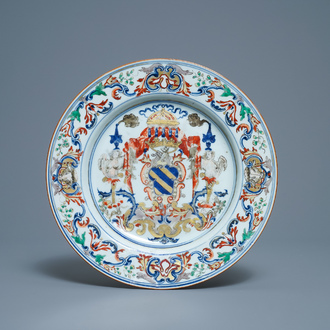 A Chinese verte-Imari Portuguese market dish with the arms of Ataide, ca. 1720