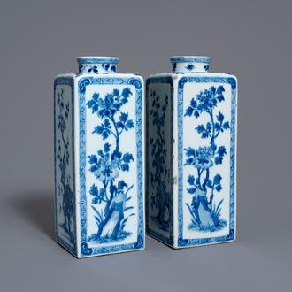 A pair of Chinese blue and white tea caddies with floral design, Kangxi