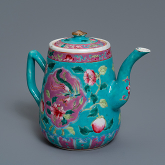 A Chinese famille rose jug and cover for the Straits or Peranakan market, 19th C.
