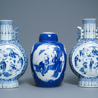 A pair of Chinese blue and white 'moonflask' vases and a covered jar, 19th C.