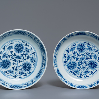 A pair of Chinese blue and white 'lotus scroll' plates, Guangxu mark and of the period