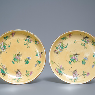 A pair of Chinese famille rose café-au-lait-ground plates, Daoguang mark and of the period