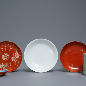 A varied collection of monochrome Chinese porcelain, 19/20th C.