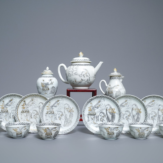 A Chinese grisaille 15-piece tea service with 'brothel' design, Yongzheng/Qianlong