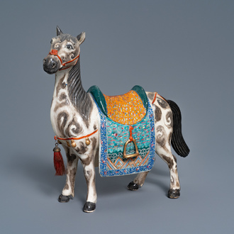 A large Chinese famille rose model of a horse, 19th C.