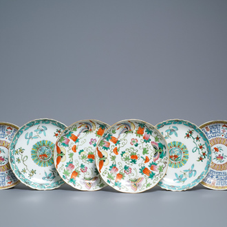 Three pairs of Chinese famille rose and fencai plates, Republic