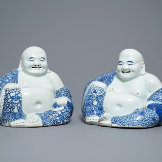 Two Chinese blue and white figures of Buddha, 19/20th C.