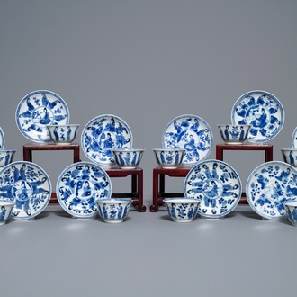 Ten Chinese blue and white 'Long Eliza' cups and saucers, Kangxi