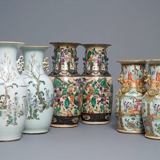 Three pairs of Chinese Canton, famille rose and Nanking vases, 19th C.