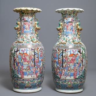 A pair of large Chinese famille rose court scene vases, 19th C.