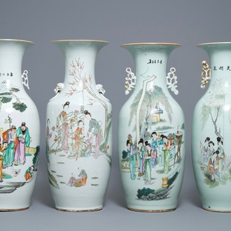 Four Chinese famille rose vases, 19/20th C.