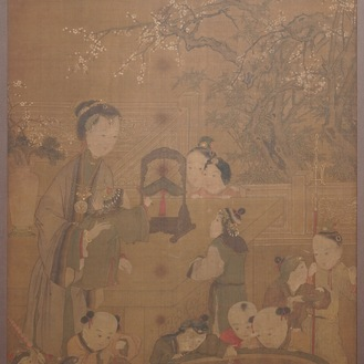 Chinese school, after Su Hanchen (1094-1172), ink and colour on silk: a lady and children near a fish bowl