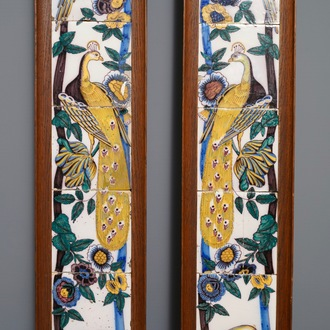 A pair of vertical polychrome Dutch Delft tile murals with peacocks, late 18th C.