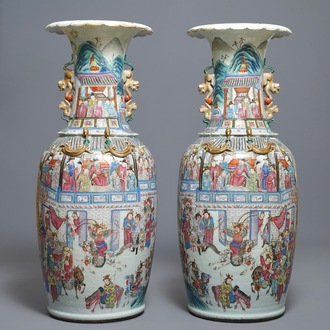 A pair of large Chinese famille rose vases with narrative design, 19th C.