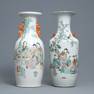 Two Chinese qianjiang cai vases with ladies in a garden, 19/20th C.