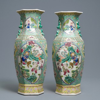 A pair of Chinese hexagonal famille rose vases, 20th C.