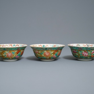 Three Chinese famille rose Straits or Peranakan market bowls, 4-character mark, 19th C.