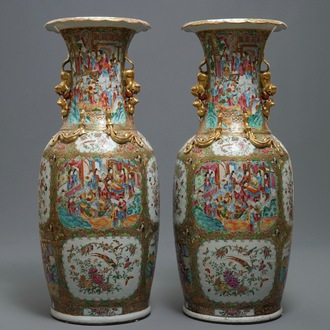 A pair of large Chinese Canton famille rose vases, 19th C.