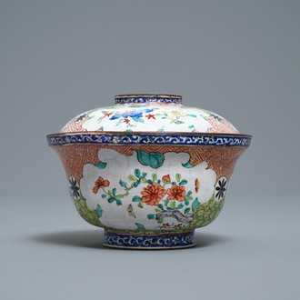 A Chinese Canton enamel covered bowl with flowers and butterflies, Qianlong/Jiaqing