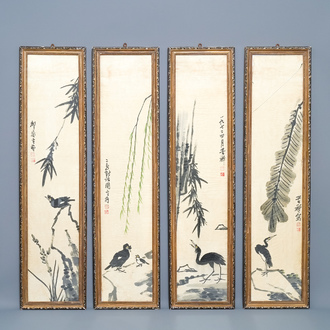 Chinese school, signed Li Kuchan (1899-1983), ink and colour on paper, dated 1972: four panels with birds on rocks