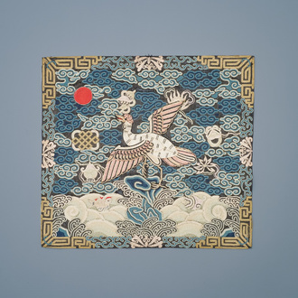 A Chinese embroidered silk rank badge with a crane for first-rank civil official, Qianlong/Jiaqing