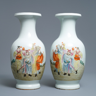 A pair of Chinese famille rose vases, Qianlong mark, Republic