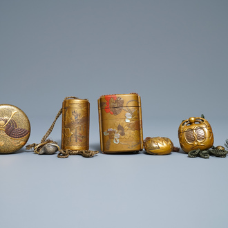 Three Japanse lacquer inro with netsuke and a lacquer box and cover, Meiji, 19th C.