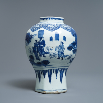 A Chinese blue and white baluster vase with figures in a landscape, Transitional period
