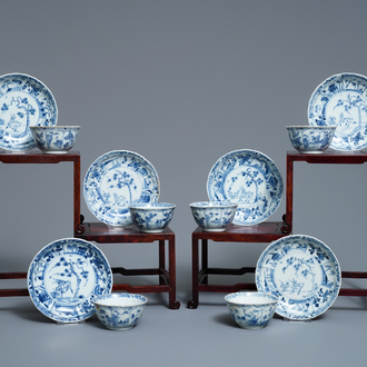 Six Chinese blue and white 'deer' cups and saucers, Ca Mau wreck, Yongzheng