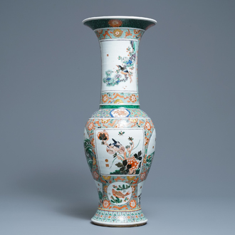 A large Chinese famille verte yenyen vase with animals and flowers, 19th C.