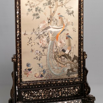 A large Chinese mother-of-pearl-inlaid wooden screen with silk embroidery, 19th C.