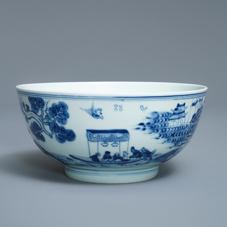 A Chinese blue and white 'Ode to the red cliffs' bowl, Kangxi/Yongzheng