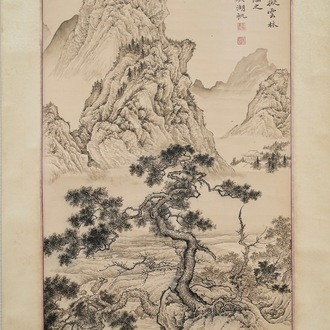 Chinese school, signed Wu Hufan (1894-1968), ink on paper: 'Mountain landscape'